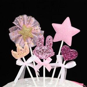 Image 2 - 5 pz/lotto rosa stella cuore corona di compleanno cake topper cupcake decorazione baby shower bambini festa di compleanno favore di cerimonia nuziale forniture
