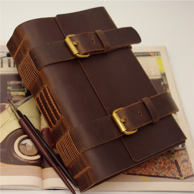 2015 travelers handmade leather notepad travel diary thick book