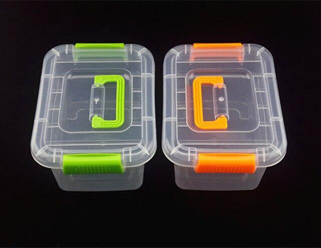 1 caja de almacenamiento de plástico de 3 tamaños caja de acabado de almacenamiento portátil cajas de plástico transparentes cajas de herramientas grandes con mango JF 0670