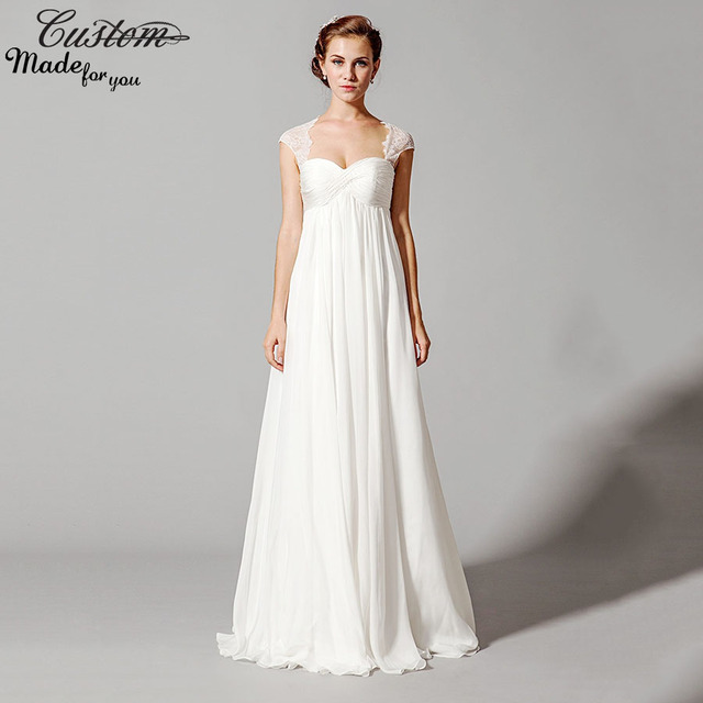 Elegant Bridal Gowns For Pregnant Women White Chiffon Empire Waist ...