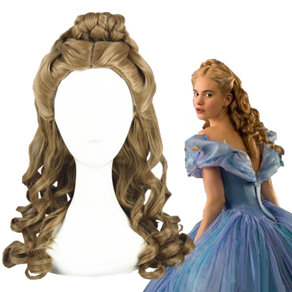 2015 Cinderella Wig Cosplay Role Play Halloween Film Movie Sandy Princess Synthetic Hair Bun cosplay wig 2015 new movie princess cinderella wig long curly ash blonde anime cosplay wig free shipping