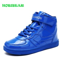 Designer Boy Patent Leather Fashion Shoes High Top Girls Sport Shoes For Kids Red White Red Big Children School Brand Sneakers