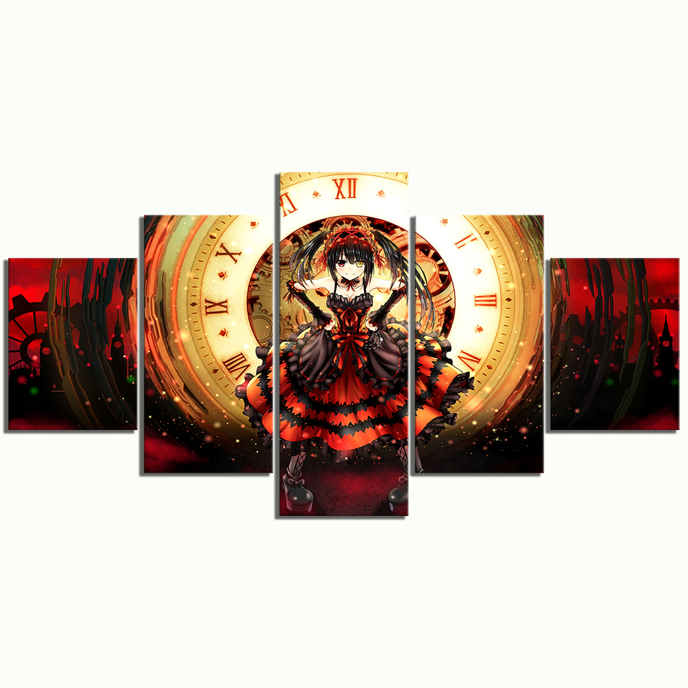 5 Piece HD Anime Girl Pictures Tokisaki Kurumi DATE A LIVE Poster Animation Art Canvas Paintings for Home Decor 3