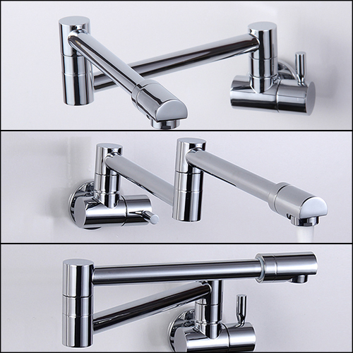 Folding Copper Sink Chrome Wall Mount Kitchen Faucet Tap Single Cold Taps Torneira