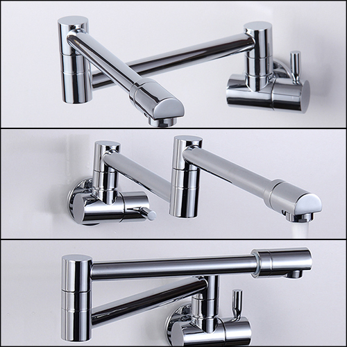 Folding Copper Sink Chrome Wall Mount Kitchen Faucet Kitchen Wall