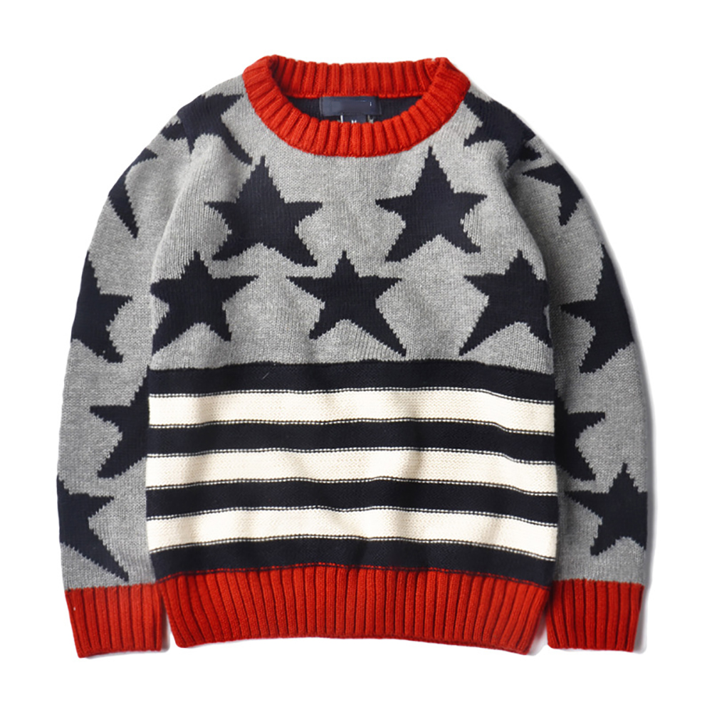 YY-947 Autumn Winter Kids Stars Pattern Sweater Boys Girls Retro Sweater Kids Knitted Pullovers Kids 2-8T Warm Sweater Outerwear sweater