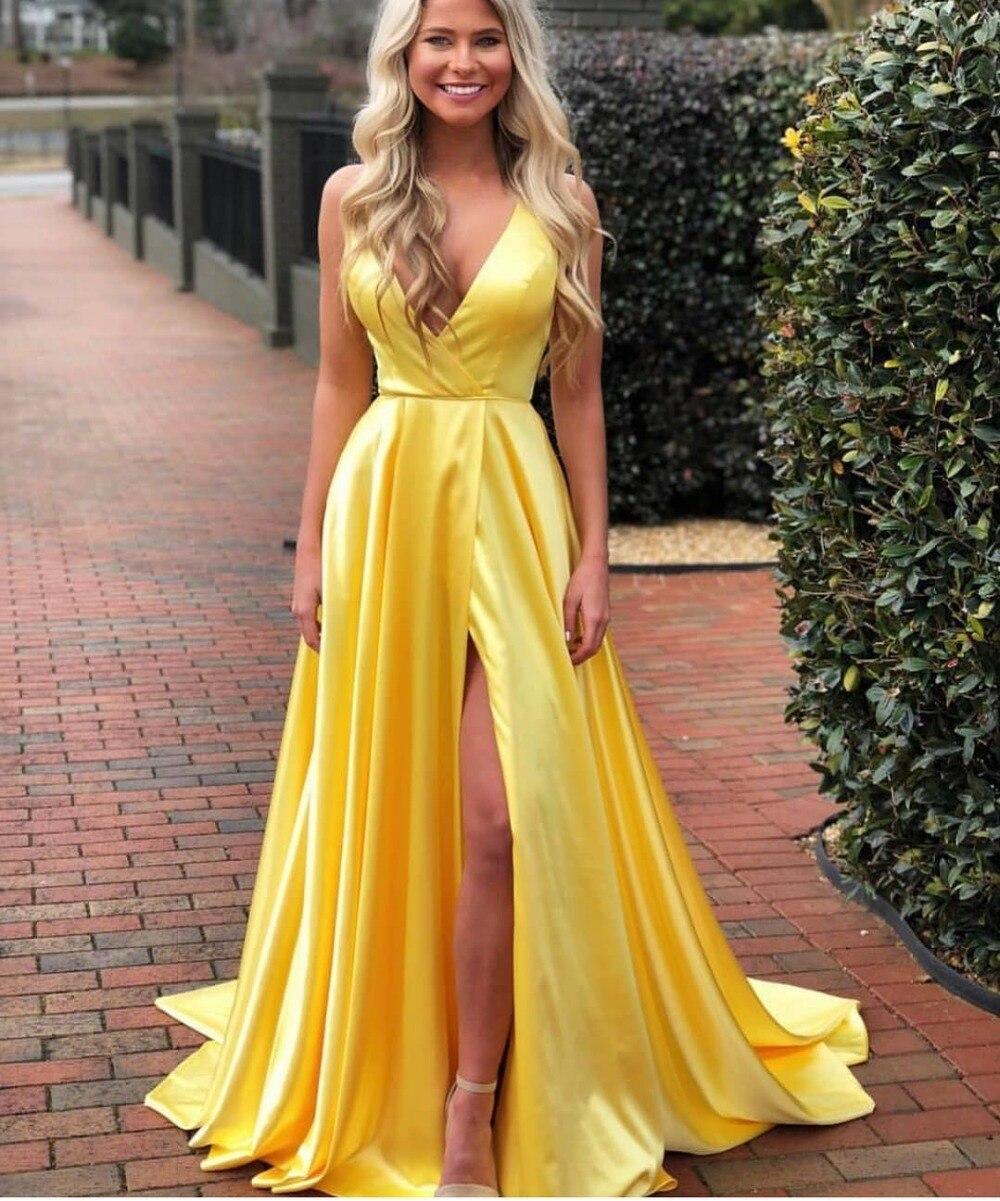 Jaune une ligne robe de bal Sexy profonde col en V haute fente longues robes de soirée pour les femmes grande taille pas cher spécial événement robes de soirée - 2
