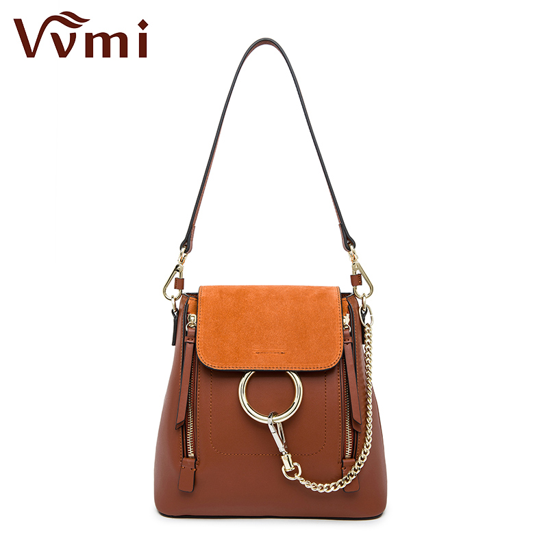 ФОТО Vvmi 2016 new women bag chain ring backpack double zip single shoulder compatible brand designer multifunctional portable bag
