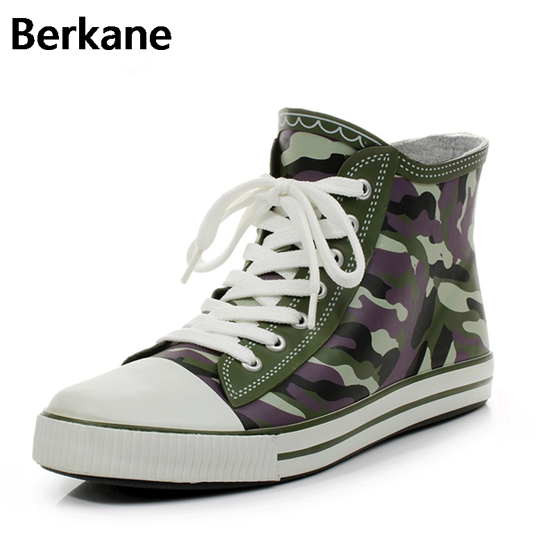 Camouflage Rubber Rain Boots Ankle Men Waterproof Pvc Lace Up Water Shoes Casual Flats Breathable Non slip Zapatillas Hombre Hot