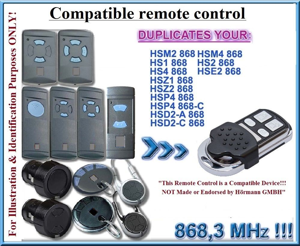 4 channel Hormann HSM4 868 mhz remote control Compatible with Hormann HSM2, HSM4 Blue Button Remote control 868,3MHz,clone