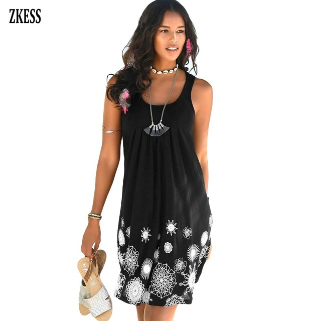 ef6cb3fd720ec US $14.16 36% OFF|ZKESS Women Beachtime Sleeveless Beach Print Pleated  Dress Summer Fashion Causal Scoop Neck Ruched Hollow Out Boho Dress  220646-in ...
