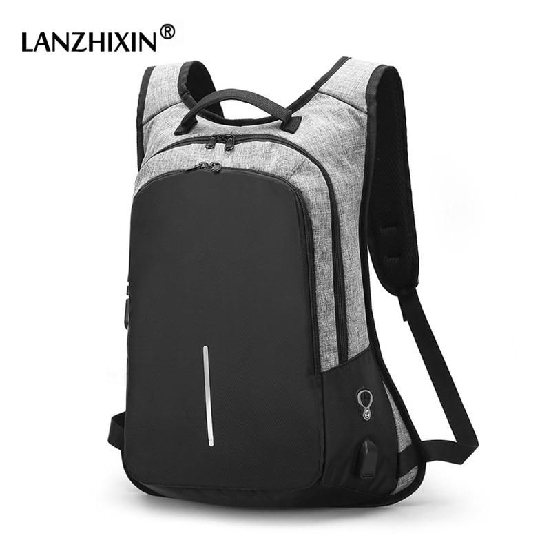 Hombres mochilas de moda para adolescentes estudiantes USB cargable Contraseña de bloqueo antirrobo mochila ordenador mochilas 8328