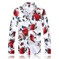 2016 2017 outono nova alta qualidade plus size 3XL 4XL 5XL rosa forma da cópia floral camisas camisas dos homens da moda