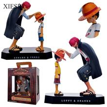 One Piece PVC Action Figure Collection Model Toys Luffy & Shanks Classic Touching Scene Color Box XIESPT