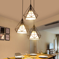 Nordic creative personality restaurant Pendant Light modern lamp minimalist tea shop Club house wrought iron diamond lamp FG499