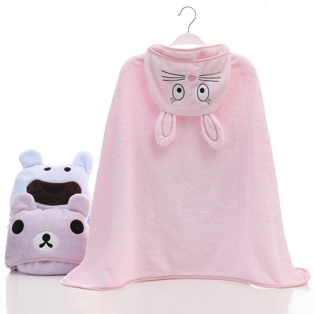 dkDaKanl Baby Blanket With Cartoon Hat Solid Velvet Soft Children Quilt Newborn Baby Muslin Blanket Kids Bath Blankets