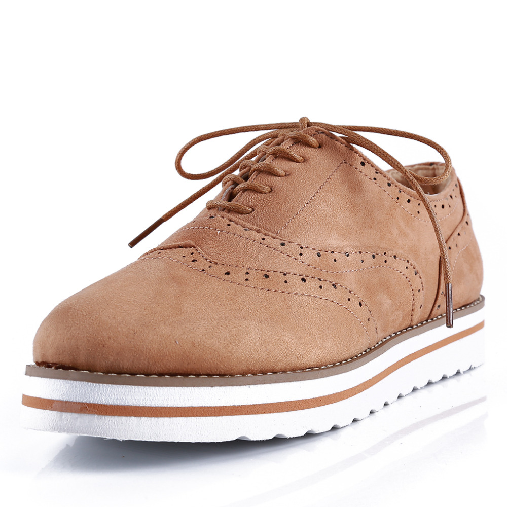 Plus Size 35-43 Women Flat Hollow Platform Shoes Oxfords British Style Ladies Creepers Brogue Shoe For Female Lace Up Footwear 4