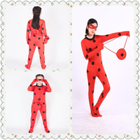 New Girls Kids Zip Miraculous Ladybug Cosplay Costume Christmas New Year Marinette Child Lady Bug Spandex