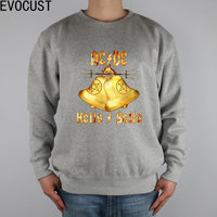 Custom Album Cover ACDC Hells Bells men Sweatshirts Thick Combed Cotton