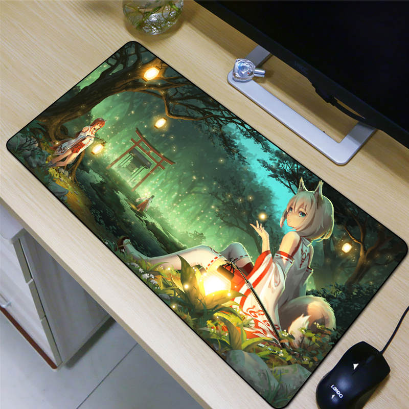 FFFAS 80*40 Girls Mouse Pad Cartoon Animation Style Beautiful Night Anti-skid At The Bottom Of The Product HD Printing XL Mats