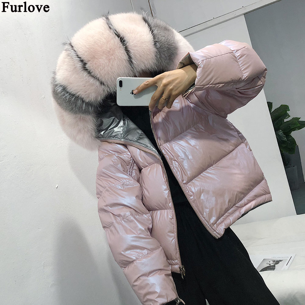 2018 New Winter Women Real Raccoon Fur Collar Hooded Down Jacket Long Duck Down Thick Parkas Fashion Silver Coat Outwear Fast Color Jackets & Coats