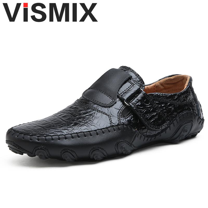 VISMIX Handmade Genuine Leather Mens Shoes Casual Luxury Brand Men Loafers Fashion Breathable Driving Shoes Plus Size 46 47 48 genuine leather men casual shoes summer loafers breathable soft driving men s handmade chaussure homme net surface party loafers