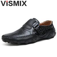 VISMIX Handmade Genuine Leather Mens Shoes Casual Luxury Brand Men Loafers Fashion Breathable Driving Shoes Plus