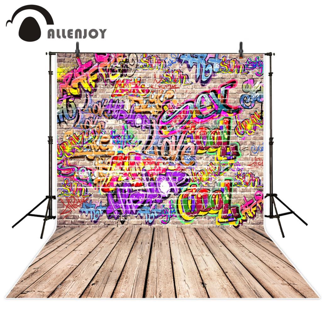 Allenjoy photography theme background brick wall color personality art graffiti backdrop fantasy photography props for studio in background from consumer
