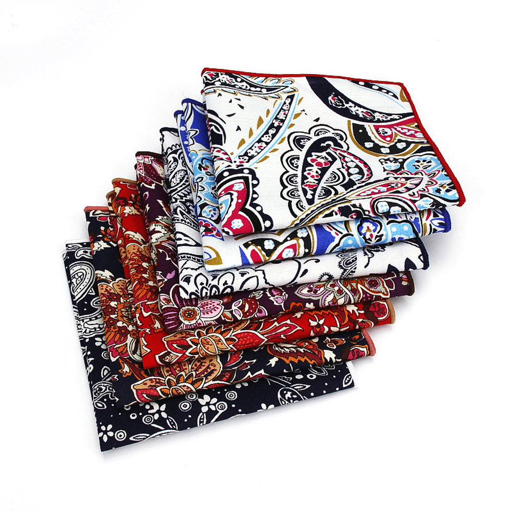Men's Paisley Floral Print Pocket Square Gentleman Business Hanky Handkerchief YFTIE0235