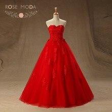 20e364244 Rosa Moda hasta el suelo encaje rojo Quinceañera vestidos princesa encaje  Debutante vestidos con falda de bola