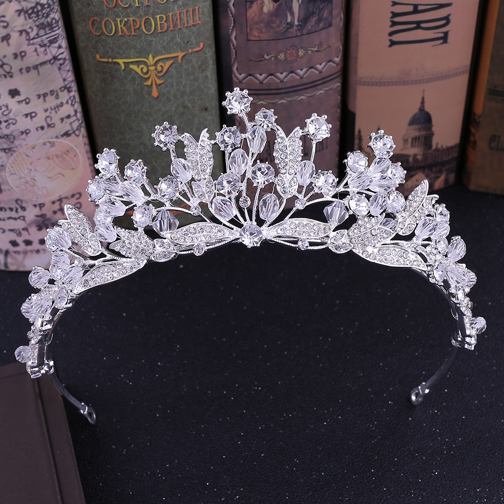 Baroque Rhinestone Brides Tiaras Crowns Headpiece Gold Wedding Hair Accessory