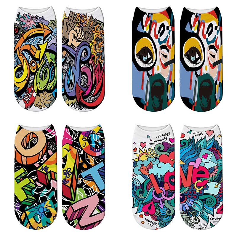 New 3D Printed Personality Graffiti Cotton Socks Women Street Artisc Short Ankle Socks Painting Harajuku Kawaii Funny Socks