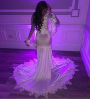Sexy African Illusion Mermaid White Lace Prom Dresses Long 2019 V Neck Flower Appliqued Prom Dress For Black Girls Party Gowns