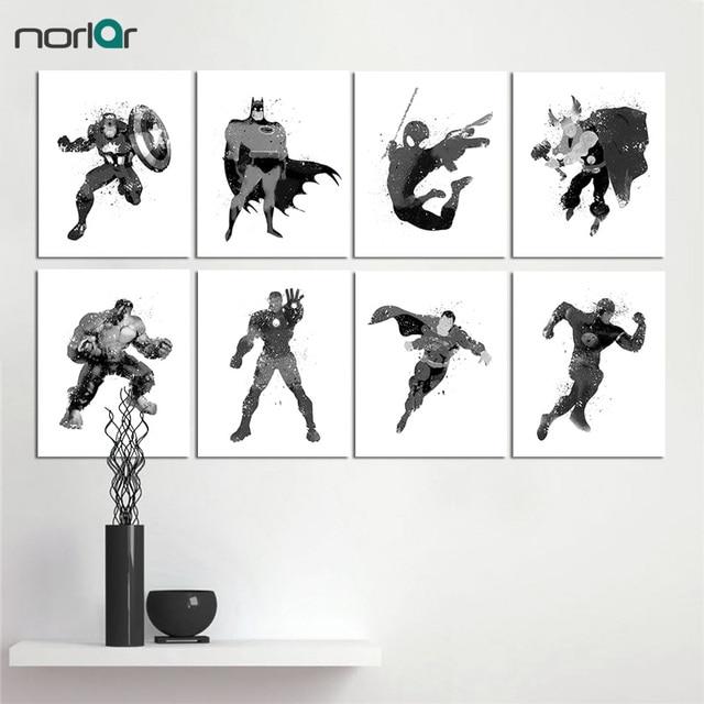 Watercolor black white superhero avengers pop movie batman canvas art print poster wall pictures home decor