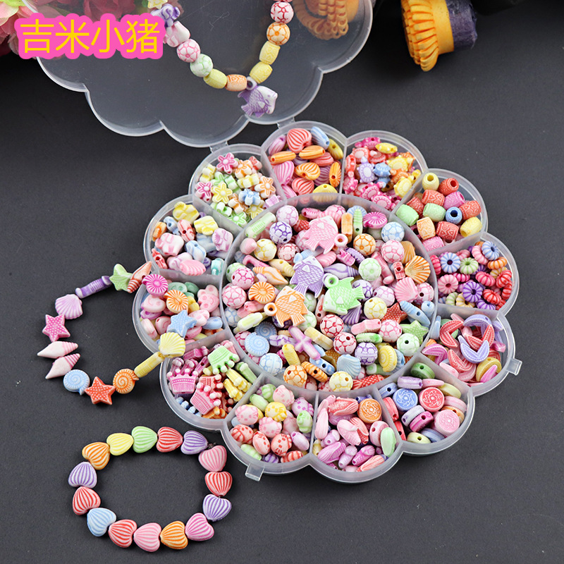 450pcs Acrylic Hand-beaded Beads Children's Puzzle Toy Creative Weaving Bracelet Necklace Girl Handmade Kids DIY Materials Bag