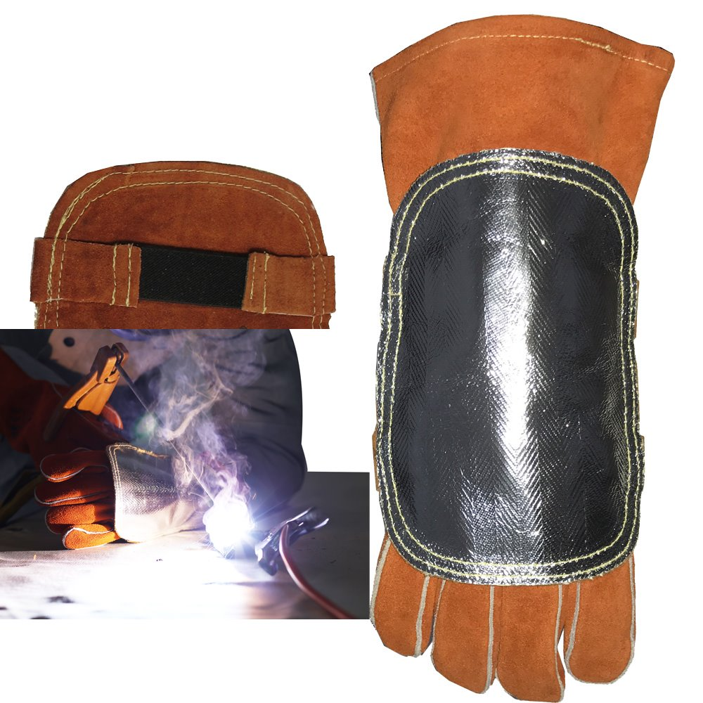 Welding Gloves  Cover High Heat Protection Aluminized  amp  Cowhide Leather Anti Flame Stitching Welder Pad