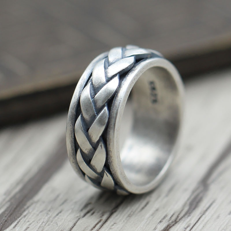 Thai Silver Personalized Weaving Can Be Rotated Ring Ring Sterling Silver 925 Jewelry