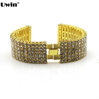 6 Row Black Bling Bling Watch Band Fits 22mm 24mm Fashion Men Bracelets Jewelry