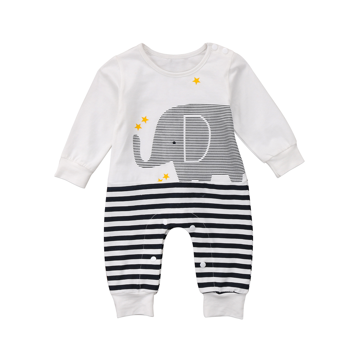 Kids Baby Girls Boys Elephant Striped   Romper   Jumpsuit Outfits One-pieces Long Sleeve O-Neck   Rompers   Clothes
