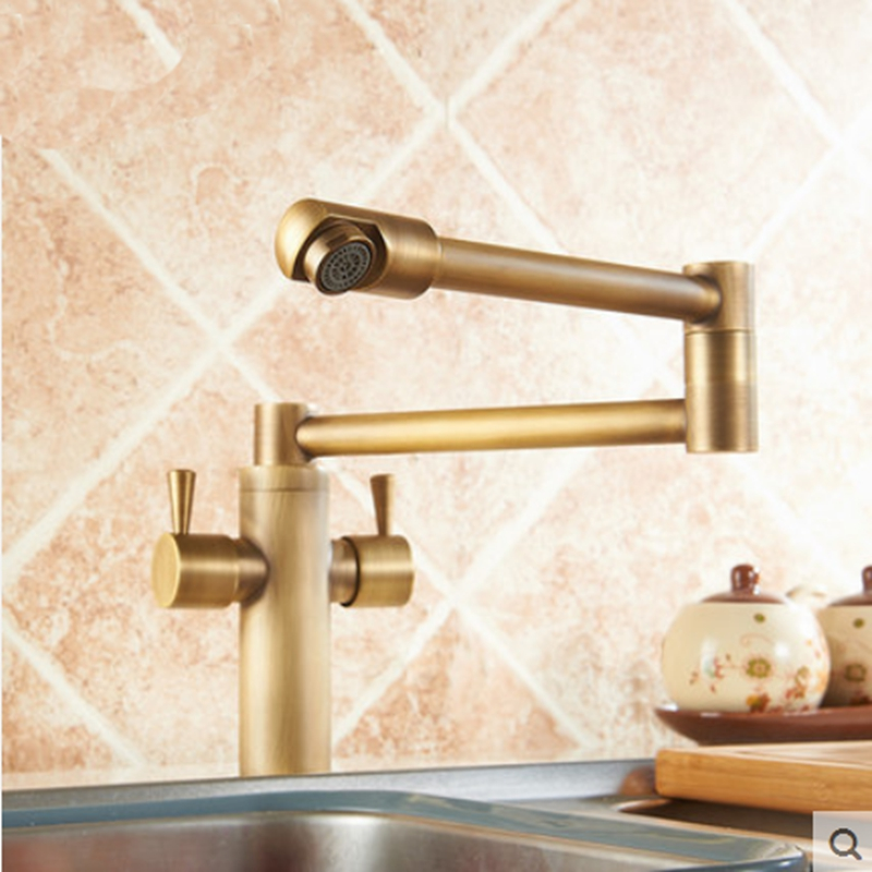 deck mounted foldable antique brass kitchen sink faucet hot and cold water mixerchina. Interior Design Ideas. Home Design Ideas