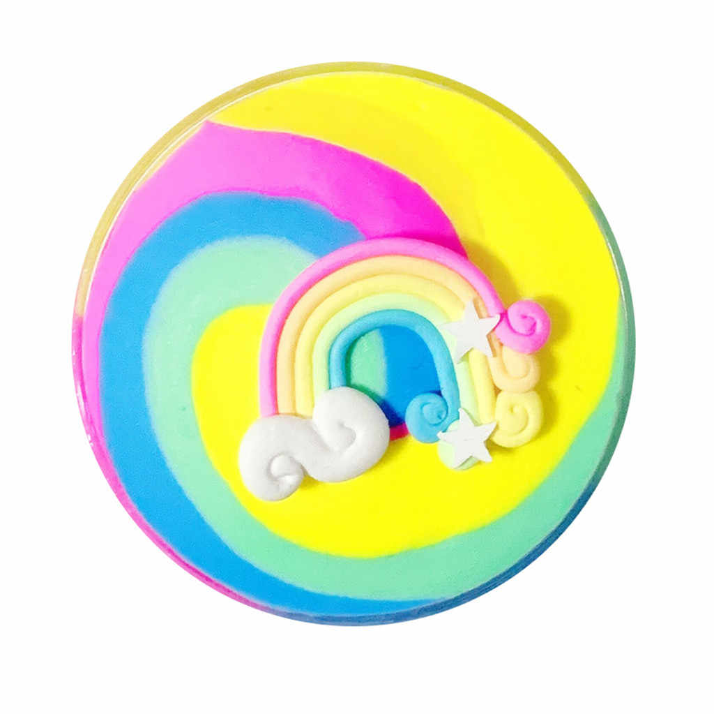 Children decompression puzzle butter sticky earth toy rainbow cake mucus kids toys 100ml color fairy mud slime toy mud 2019