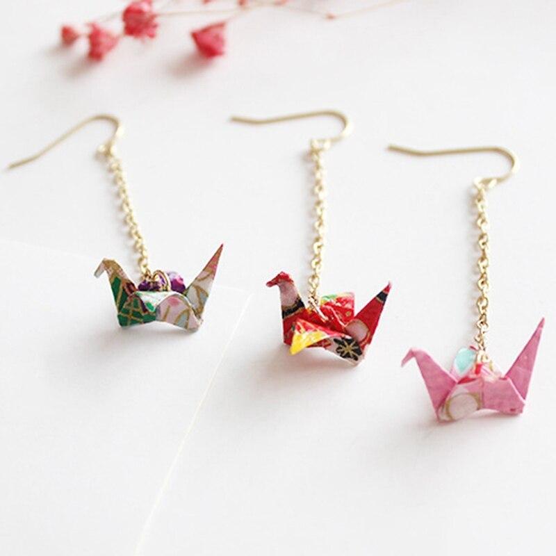 5 Colors 1pc Women Gifts Japanese Paper Crane 2018 1 Piece Jewellery Accessory Women Drop Earrings