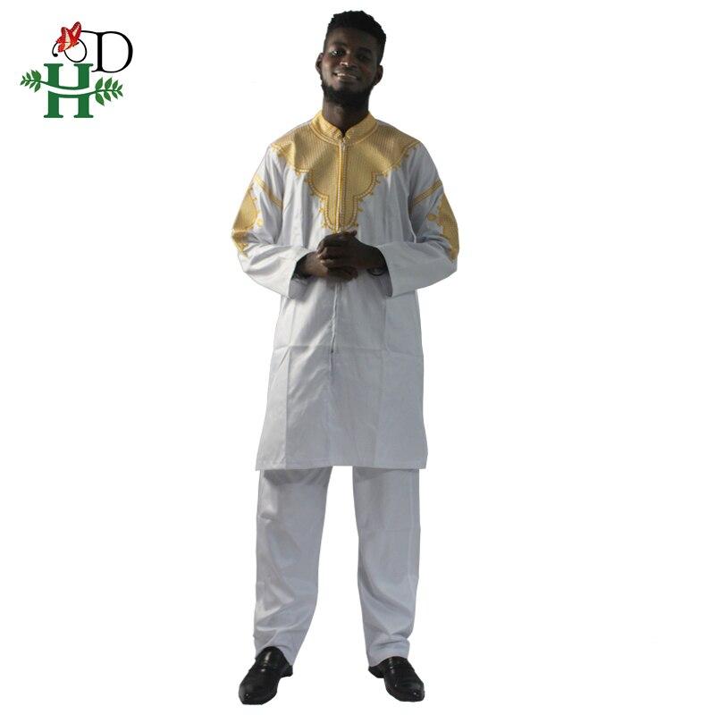 Image 3 - H&D African mens clothing traditional zipper riche africano hombres camisa con pantalones bordado camiseta pantalones dashikiafrican manafrican mens clothingmens african clothing -