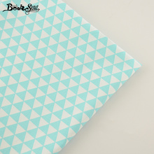 Booksew New Home Textile Cotton Twill Fabric Light Green Triangle Soft Quilting Cloth Tecido For Bed Sheet Baby Beding Dolls CM