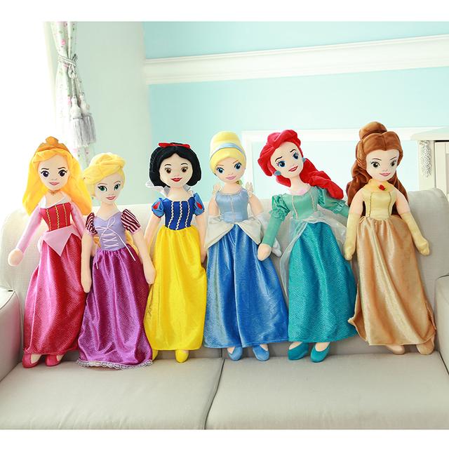 60cm Plush Princess Snow White Ariel Rapunzel Merida Cinderella Aurora Belle Princess Dolls for Christmas Gifts
