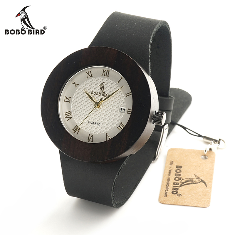 BOBO BIRD C02 Men Women Round Wooden Wristwatch White Dial Wood Watch Fashion Lady Quartz Watch in Gift Box bayan saat