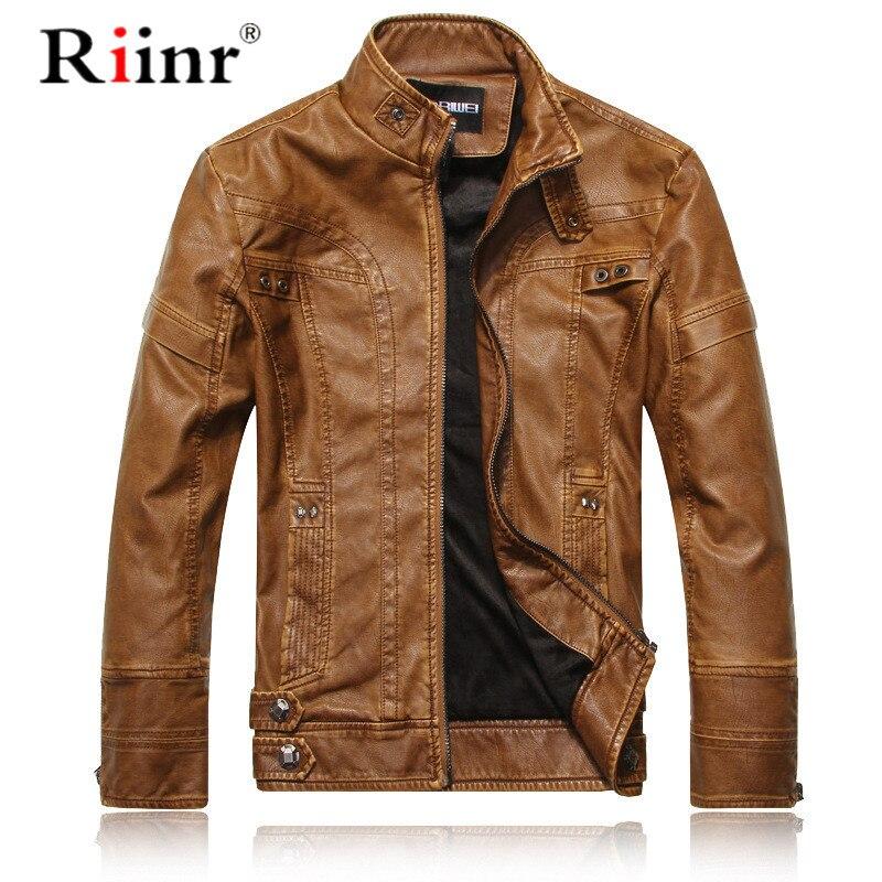 Riinr tout nouveau hommes Faux cuir vestes de haute qualité en cuir Pu noir marron 3XL hiver automne hommes en cuir Jaket et manteau