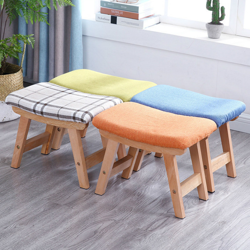 Small Household Stool Fabric Sofa Adult Pedal Fashion Creative Wooden Bench Chair Kid Chair Antique Kids Toy Storage Furniture