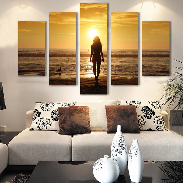 Modern Living Room Bedroom Wall Decor Home Decor Sexy Nude Girl Sunset  Seascape Canvas Wall Art