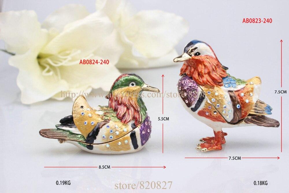Ensemble de 2 oiseau charnière coffret cadeau vintage oiseaux bibelots boîte Amour oiseaux anneau boîte oiseaux émaillé bijou/pilule boîtes bijoux